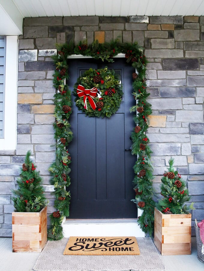 Front Door with Christmas Garland and Holiday Wreath