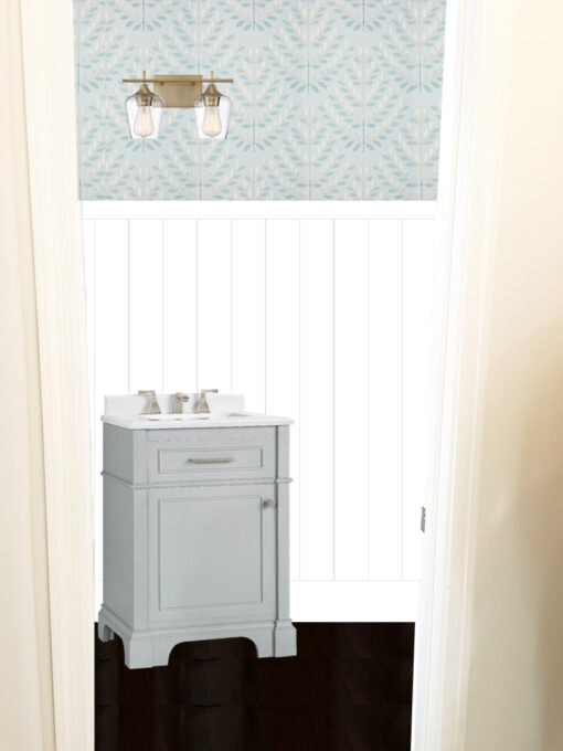 Photoshop Mockup of Half Bathroom with Aqua Removable Wallpaper