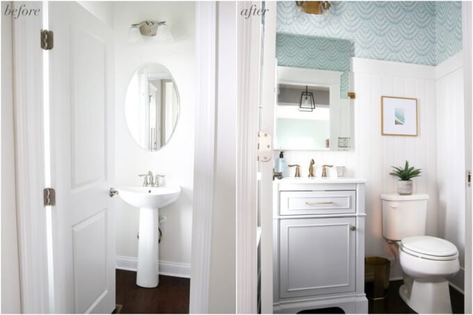 Powder Room Half Bath Before and After Photos