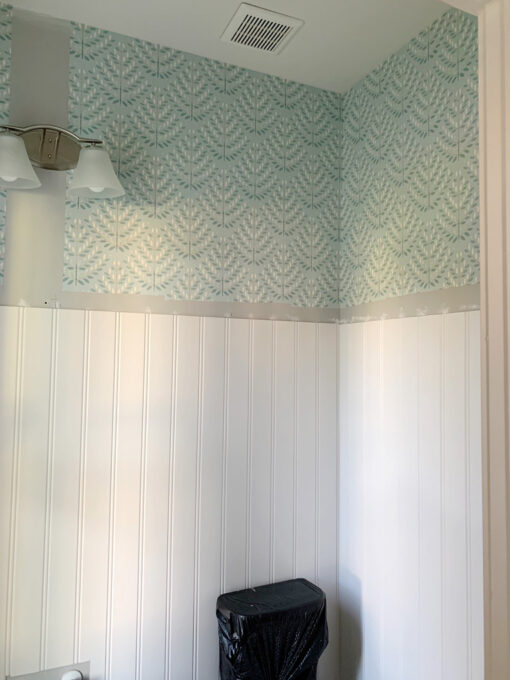 Wainscoting and Wallpaper with No Top Trim Piece