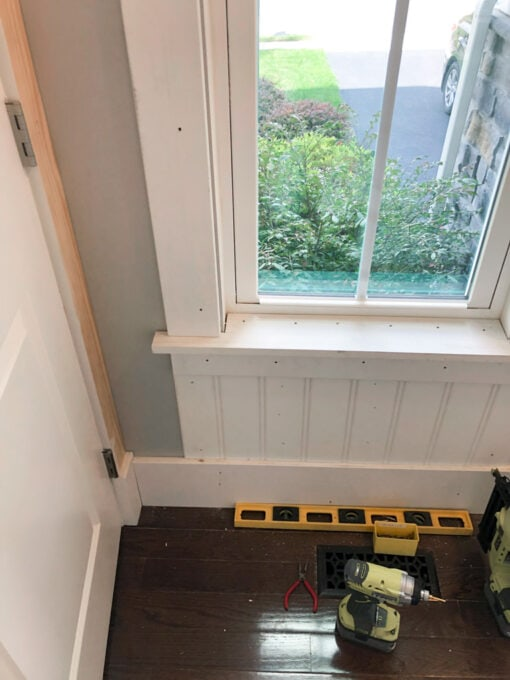 Wainscoting Under a Window in Powder Room