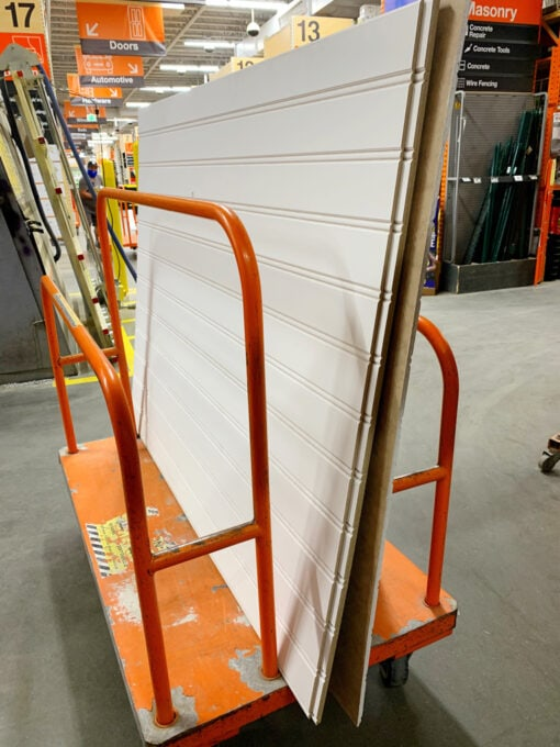 Beadboard Wainscoting on a Cart at Home Depot