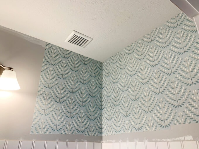 Corner of Half Bath with Installed Wallpaper