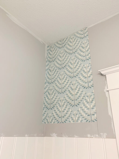 First Length of Wallpaper Installed