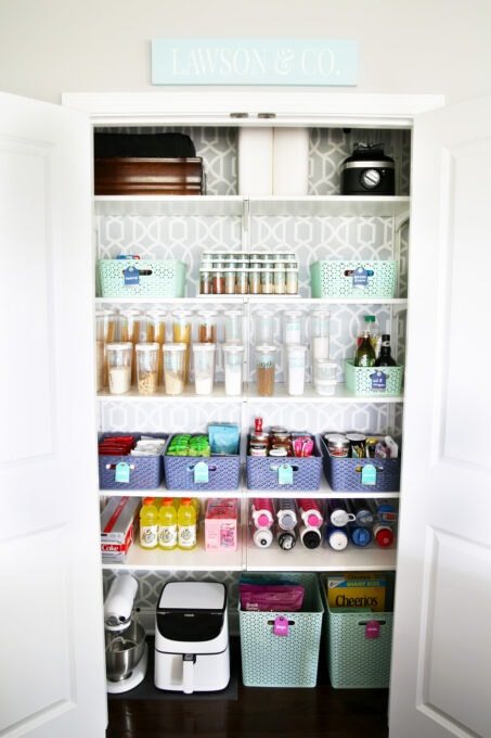 Organized Kitchen Pantry with Peel and Stick Wallpaper