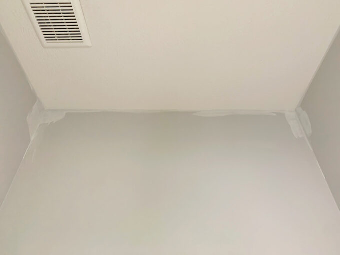 Paint Touched Up on Bathroom Ceiling Before Installing Wallpaper