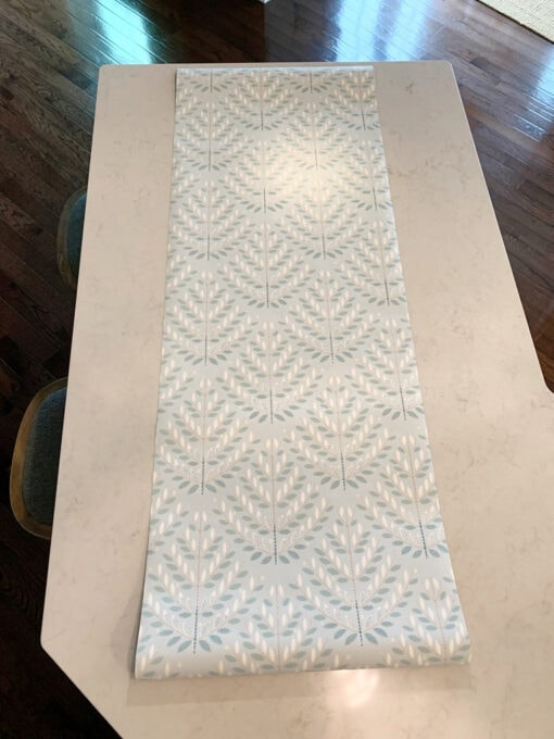 Wallpaper Laid Out Flat on Kitchen Counter