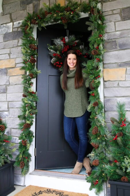 Front Door with Christmas Decor