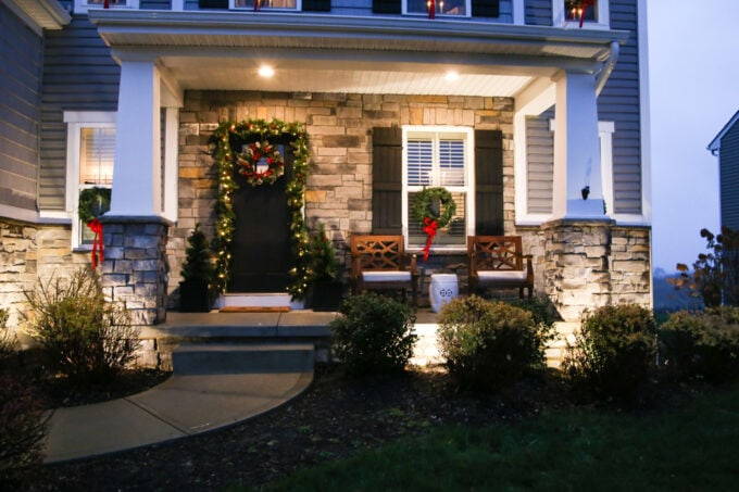 Craftsman Style Front Porch with Landscape Lighting