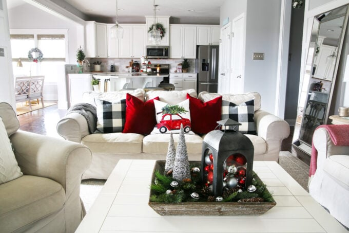 Christmas Living Room and Kitchen in a Ryan Homes Palermo