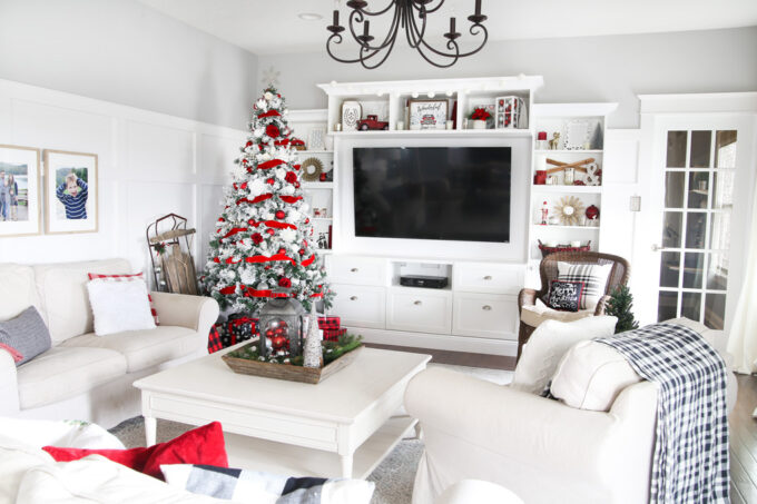 Christmas Living Room with Red and White Tree and IKEA BESTA Entertainment Center