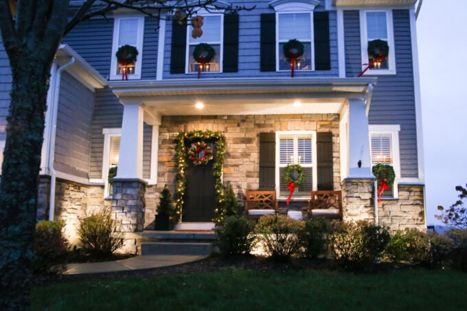 Craftsman Style Front Porch with Low Voltage Landscape Lighting