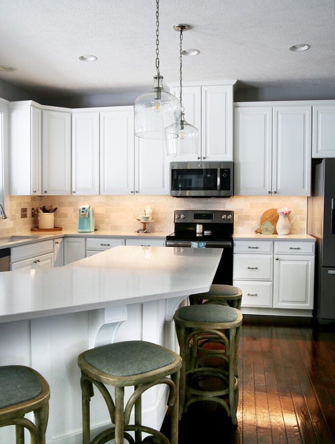 White kitchen with under cabinet lighting