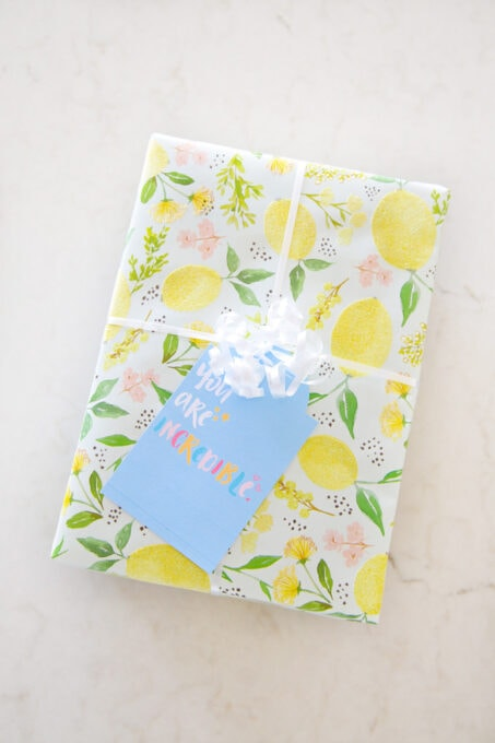 Present with free printable encouragement gift tag, wrapped in lemon wrapping paper