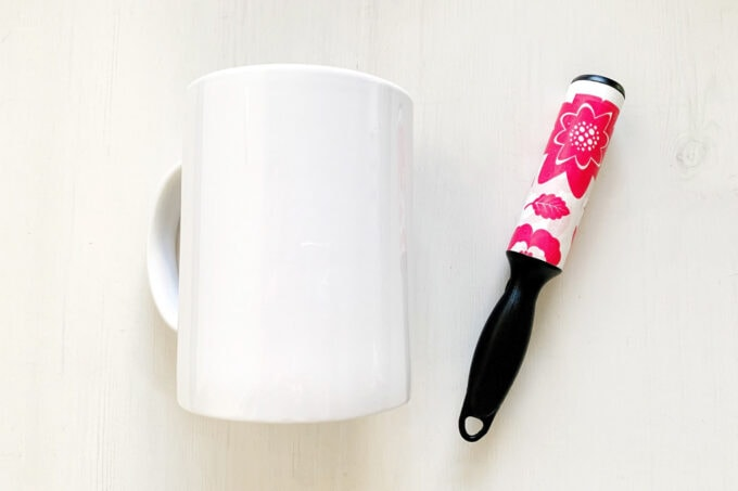 White mug with lint roller