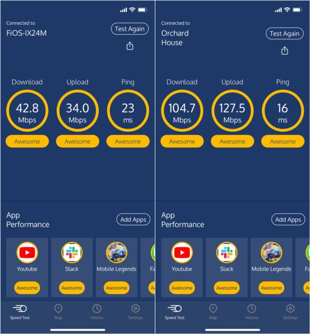 Wifi Speeds Before and After