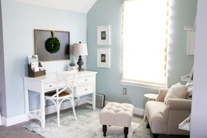 White Writing Desk in an Organized Home Office Nook