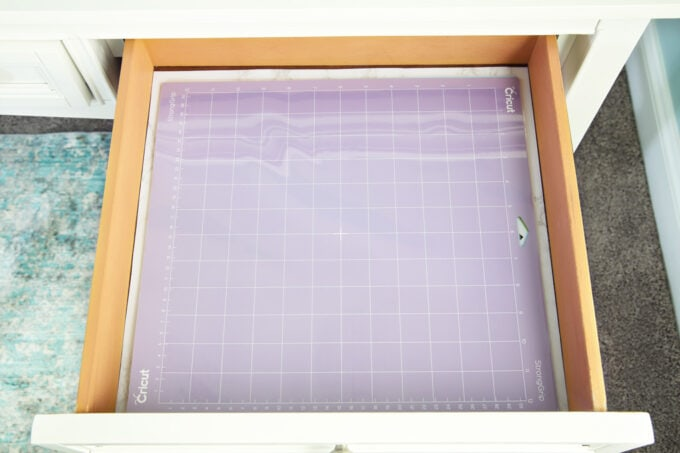 Desk Drawer holding Cricut cutting mats