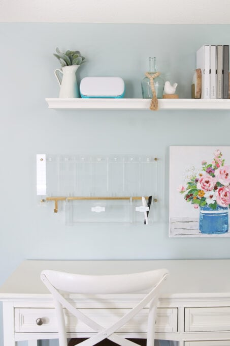 White Desk and Wall Organization Pieces in an Organized Home Office