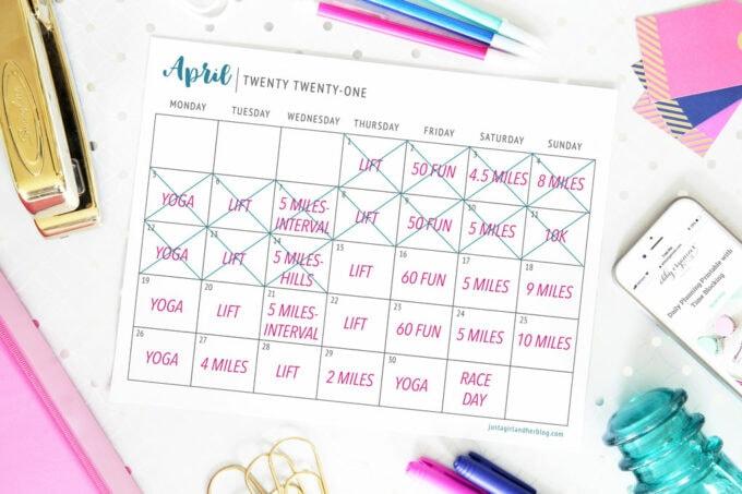 half marathon training calendar with days X-ed out