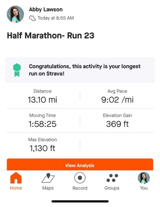 stats from half marathon run