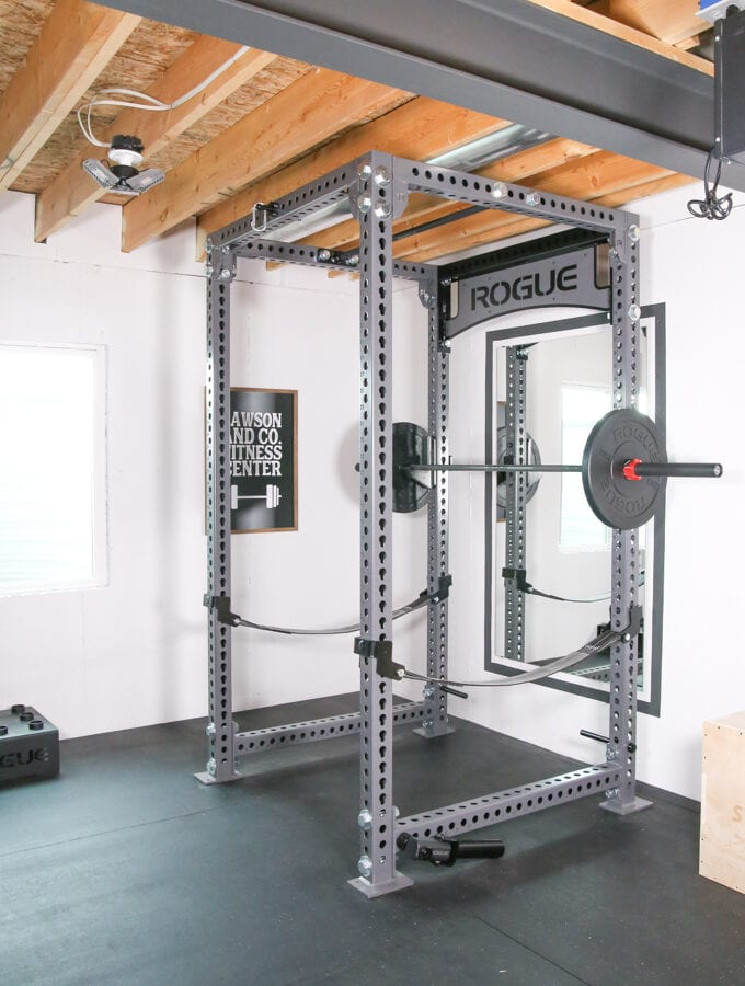 Rogue Fitness Weight Rack in a Basement Home Gym