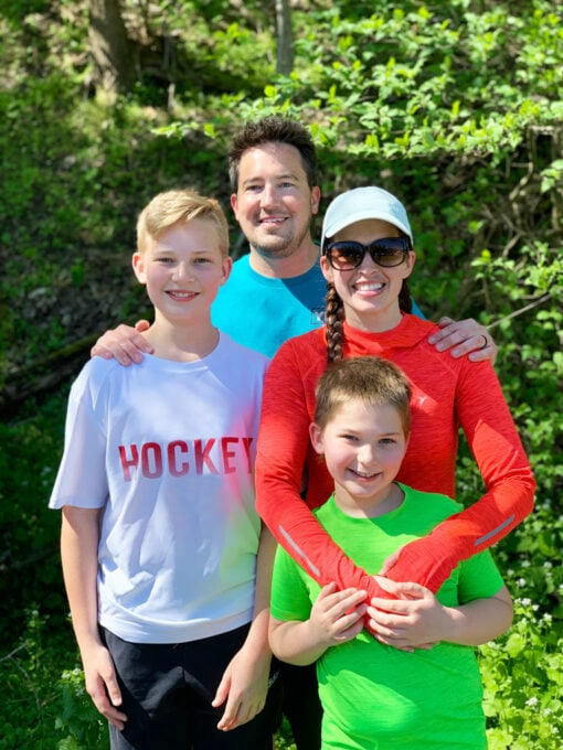 with my family after running the half marathon