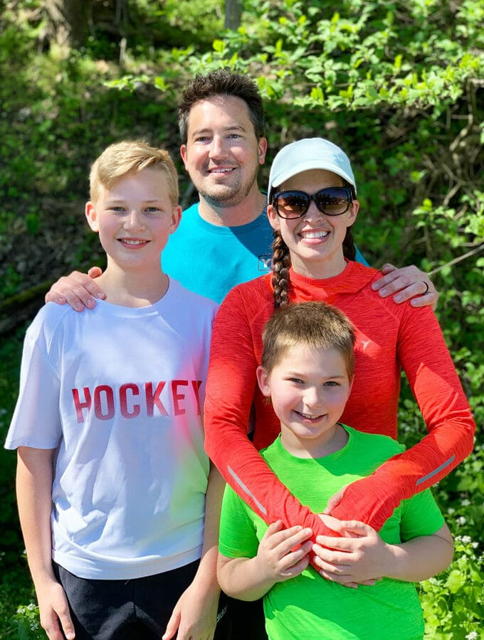 with my family after running a half marathon